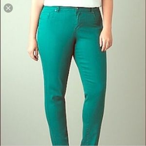 Lane Bryant Skinny Teal Green Jeans Size 28